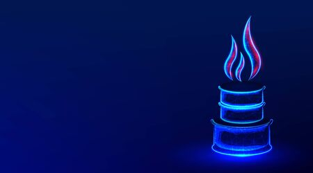 pipeline, pipe with fire flame. gasoline, oil industry. abstract low poly wireframe mesh design. from connecting dot and line. vector illustration on blue background