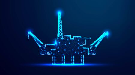 Offshore Jack Up Rig in The Middle of The Sea, oil industry. abstract low poly wireframe mesh design. from connecting dot and line. vector illustration.futuristic design on dark blue background Ilustração