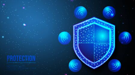 Shield and wifi icon. Security concept, Data secure. abstract low poly wireframe mesh design. from connecting dot and line. vector illustration.futuristic design on dark blue background