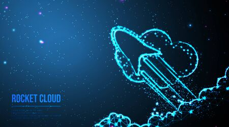 Start up concept. Income and success. Rocket flying out. abstract low poly wireframe mesh design. from connecting dot and line. vector illustration.futuristic design on dark blue background 일러스트