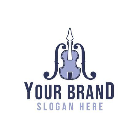 guitar,violin, musical instrument logo ideas.  Inspiration logo design. Template Vector Illustration. Isolated On White Background Ilustrace