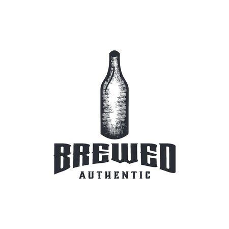 hand drawn glass bottle logo Ideas. Inspiration logo design. Template Vector Illustration. Isolated On White Background Ilustração