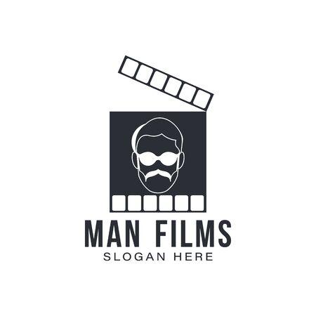 man films director logo Ideas. Inspiration logo design. Template Vector Illustration. Isolated On White Background