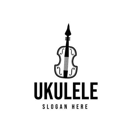 ukulele. musical logo Ideas. Inspiration logo design. Template Vector Illustration. Isolated On White Background Ilustrace