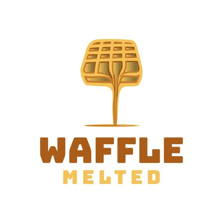 waffle and melted chocolate logo Ideas. Inspiration logo design. Template Vector Illustration. Isolated On Black Background