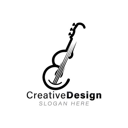 initial e. monoline guitar musician logo Ideas. Inspiration logo design. Template Vector Illustration. Isolated On White Background Ilustrace