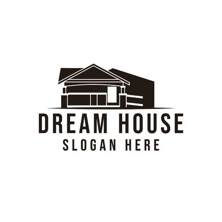 classic home, dream house logo Ideas. Inspiration logo design. Template Vector Illustration. Isolated On Black Background