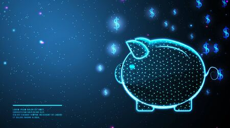 pig bank, piggy bank and flying dollar coin. save money concept. abstract low poly wireframe mesh design. from connecting dot and line. vector illustration.futuristic design on dark blue background