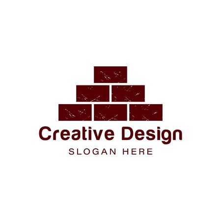 pile of red brick. construction logo Ideas. Inspiration logo design. Template Vector Illustration. Isolated On White Background