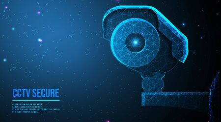 Modern CCTV camera, Concept of surveillance and monitoring. abstract low poly wireframe mesh design. from connecting dot and line. vector illustration.futuristic design on dark blue background