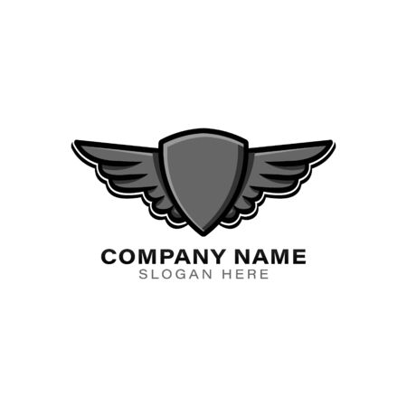 shield and flying wing logo Ideas. Inspiration logo design. Template Vector Illustration. Isolated On White Background