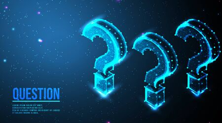 Question mark. Ask symbol. Help support, faq problem symbol, think education concept, confusion search.  futuristic low poly wireframe mesh design. from connecting dot and line. vector illustration. 向量圖像
