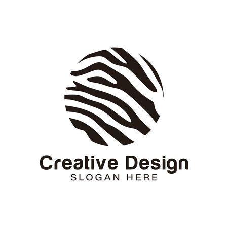 zebra. Leone. Idee per il logo della trama della pelle di tigre. Design del logo di ispirazione. Illustrazione di vettore del modello. Isolato su sfondo bianco Logo