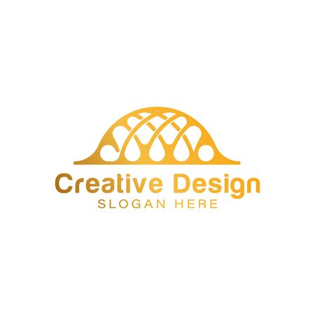 Gold Islamic Dome Palace logo Ideas. Inspiration logo design. Template Vector Illustration. Isolated On White Background