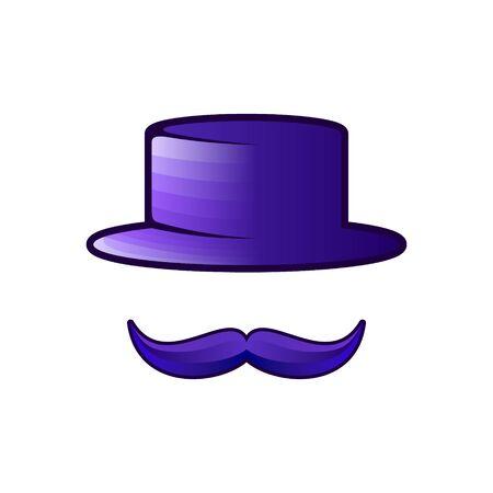 Ideas de logotipo de bigote y gorra. Diseño de logotipo de inspiración. Ilustración de vector de plantilla. Aislado sobre fondo blanco Logos