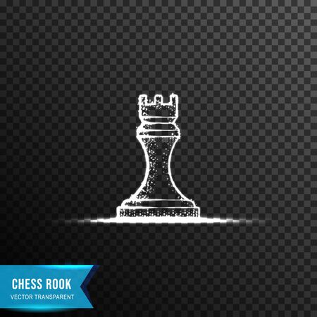 rook chess, from connecting dot and line. light effect. vector illustration, isolated on transparent background