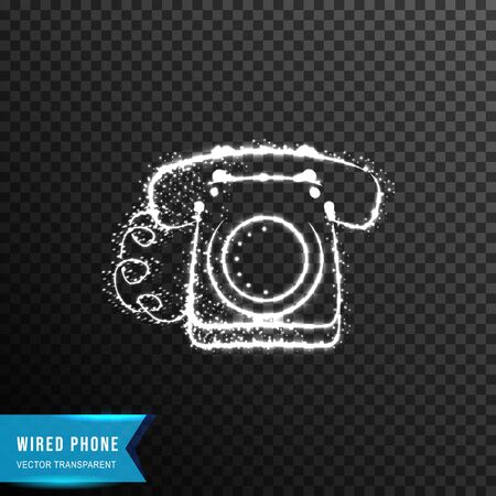 wired sitting phone from connecting dot and line. light effect. vector illustration, isolated on transparent background  イラスト・ベクター素材