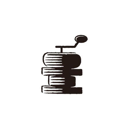 coffee roaster. grinder logo Ideas. Inspiration logo design. Template Vector Illustration. Isolated On White Background