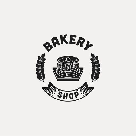 pancake, vintage bakery logo Ideas. with ribbon and wheat. Inspiration logo design. Template Vector Illustration. Isolated On White Background