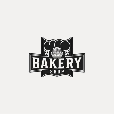 pancake, vintage bakery logo Ideas. with chef hat and wheat. Inspiration logo design. Template Vector Illustration. Isolated On White Background
