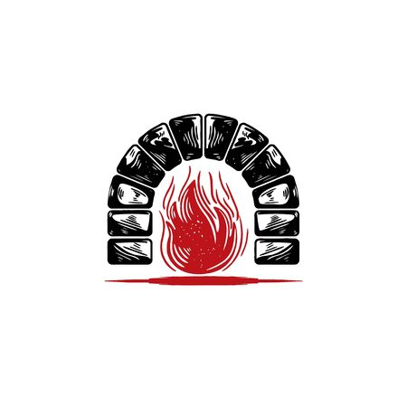 Rustic Bricks / Stones Fireplace logo Ideas. Inspiration logo design. Template Vector Illustration. Isolated On White Background