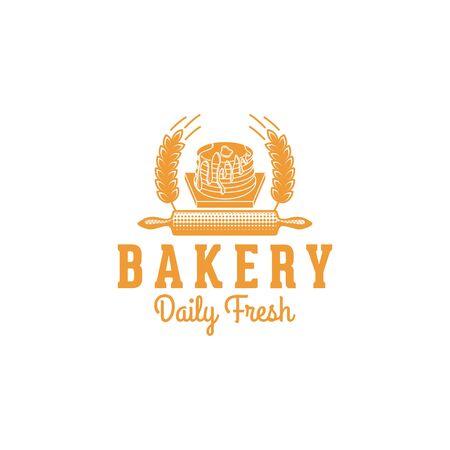 pancake, vintage bakery logo Ideas. Inspiration logo design. Template Vector Illustration. Isolated On White Background