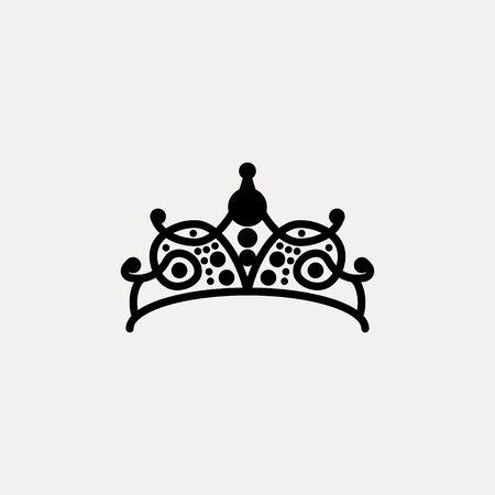 Princes tiara crown or royal diadem logo Ideas. Inspiration logo design. Template Vector Illustration. Isolated On White Background