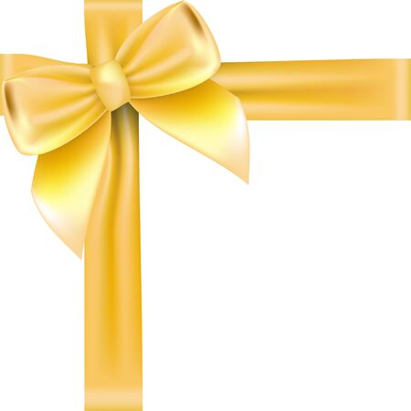 Shiny golden satin ribbon . Vector isolate gold bow for design greeting and discount card. isolated on white background Vektorgrafik