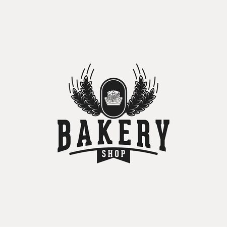 pancake, vintage bakery logo Ideas. with chef hat and wheat.with ribbon and wheat Inspiration logo design. Template Vector Illustration. Isolated On White Background