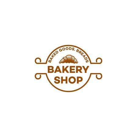croissant bakery, baguette, bread, vintage bakery logo Ideas. Inspiration logo design. Template Vector Illustration. Isolated On White Background
