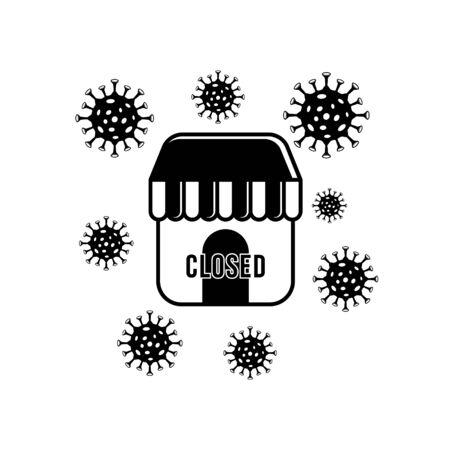 store closed icon. impact of corona virus, lockdown. Vector illustration