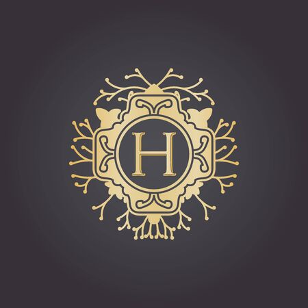 Initial Letter h, Luxury Logo for boutique, cosmetic, or jewelery logo design. Vector Illustration Logo