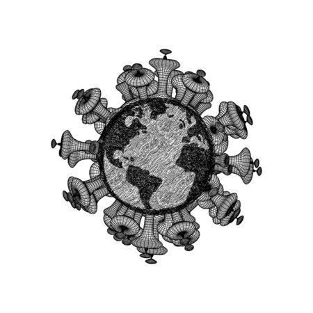 world contaminated corona virus disease. World pandemic. Novel virus of covid-19. Hand drawn vector illustration