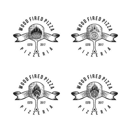 Vintage Retro Pizza badge, Hot pizza Logo vector illustration Logo