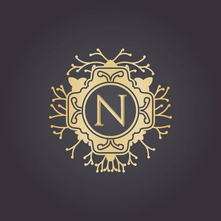 Initial Letter n, Luxury Logo for boutique, cosmetic, or jewelery logo design. Vector Illustration