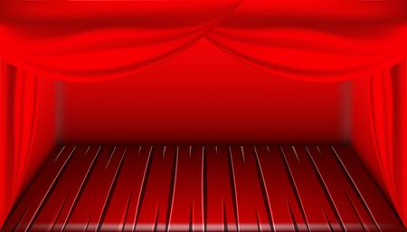stage, theater with curtain fabric concept, vector illustration