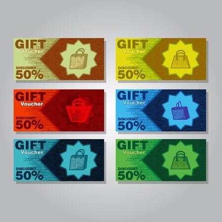 gift, discount, voucher cart template, vector illustration