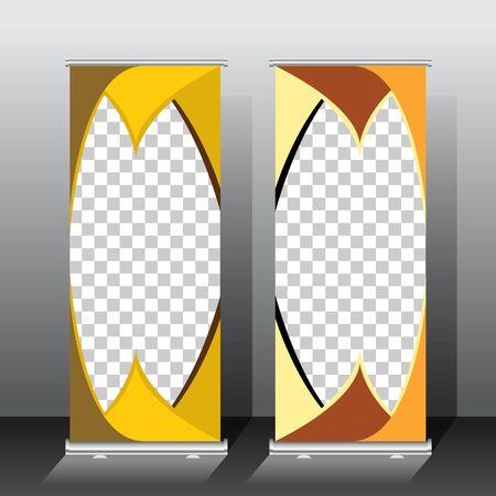 golden color roll up banner template, vector illustration