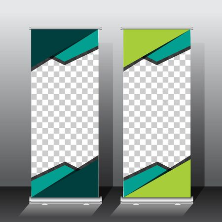 roll up banner template design. green color scheme. for presentation or promotion with space image. vector illustration.