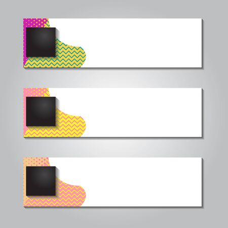 horizontal banner design with dot square and memphis striped background