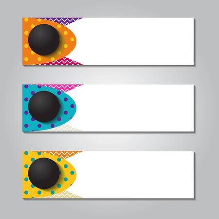 horizontal banner design with round circle and memphis striped background