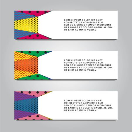 abstract horizontal banner design with dot and memphis striped background