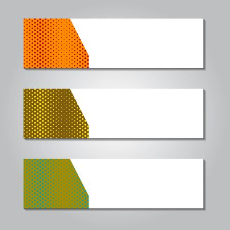 horizontal banner design with memphis striped background