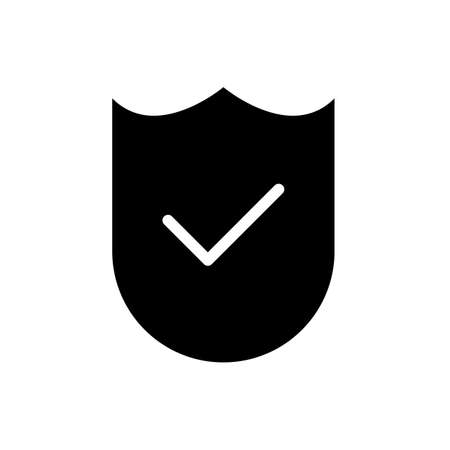 check mark and shield, verified symbol flat black line icon, Vector Illustration Ilustração