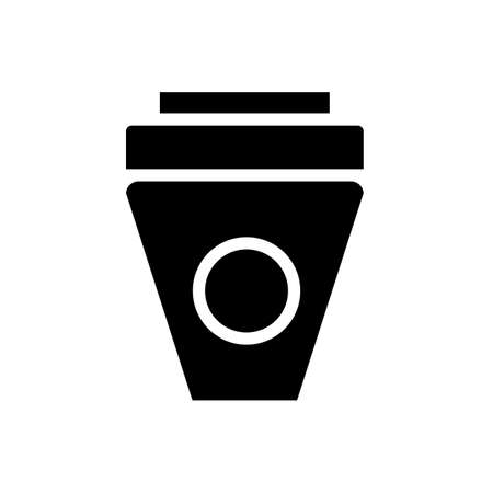 ice coffee symbol flat black line icon, Vector Illustration
