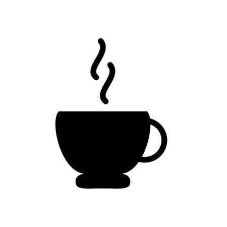 coffee cup symbol flat black line icon, Vector Illustration