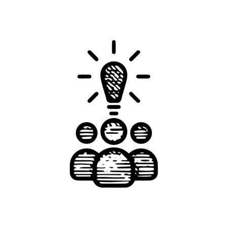 Hand Drawn idea community icon vector illustration isolated on white background