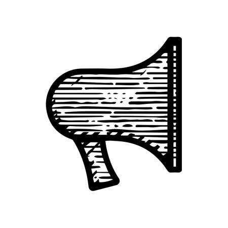 horn megaphone icon hand drawn vector illustration isolated on white background  イラスト・ベクター素材