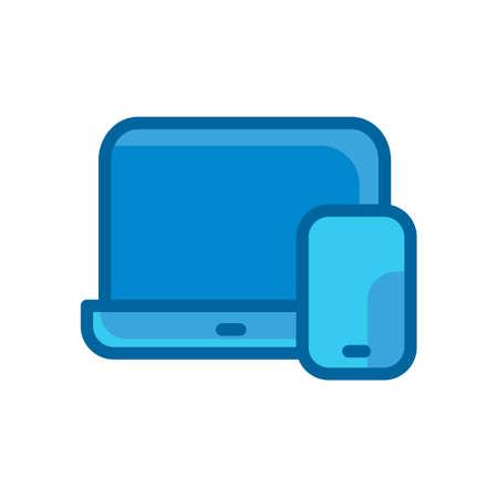 laptop computer phone storage blue flat icon isolated on white background