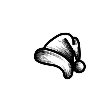 santa hat hand drawn icon vector illustration